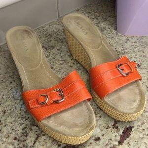 PRADA Orange Wicker Buckle Platform Wedge Leather